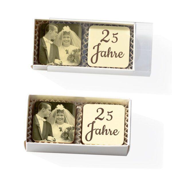 2 quadratische Foto-Pralinen in der Stange